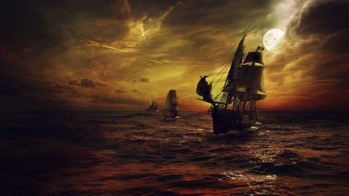 statek w nocy