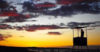 Plaża i zachód słońca
