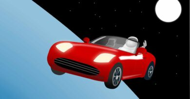 samochód tesla w kosmosie